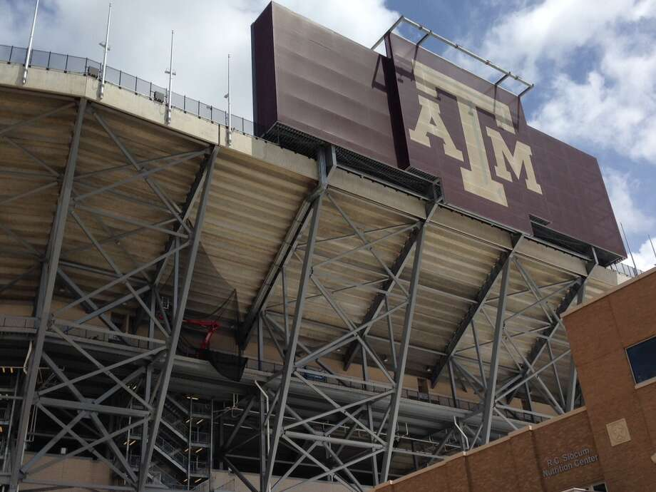Texas A&M has added steel to its new south end zone at Kyle Field earlier in 2015. Only some final welding remains. Photo: Brent Zwerneman /Houston Chronicle