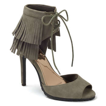 Jennifer Lopez fringe lace-up high heels, $74.99, Kohl's. Photo: Courtesy Kohl's / San Antonio Express-News