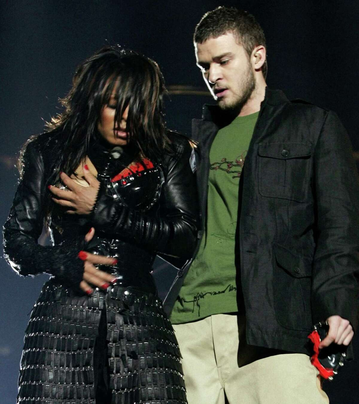 "Houston plays a role in ""The 2000s: A New Reality,"" National Geographic Channel's two-part, four-hour survey of politics, technology, pop culture, international conflict and revolutionary social change over the past 15 years. Janet Jackson (L) reacts after fellow singer Justin Timberlake ripped off one of her chest plates - exposing her breast - at the end of their half time performance at Super Bowl XXXVIII in Houston in 2004 (photo credit: WIN MCNAMEE/Reuters/Corbis)"