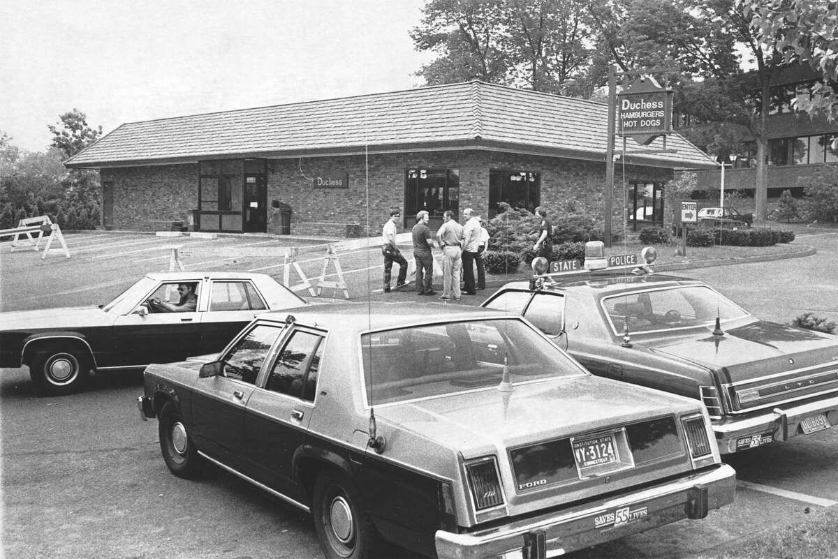 """The June 1981 crime scene after Darien Policeman Kenneth Bateman was slain during a robbery at Duchess Patio Resturant in 1981. Anthony Sabato of West Haven, a long-time """"person of interest"""" in the unsolved murder, pled guilty in federal court Monday to unrelated drug charges."""