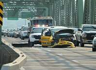Traffic is backed up on the Menands Rd. bridge leading into South Troy caused by an accident involving a taxi cab and at least one other car on Monday, July 6, 2015 in Troy, N.Y.  (Lori Van Buren / Times Union)