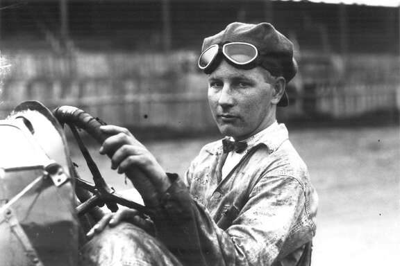 Quincey Alexander is seated in his J. and L. Special racing automobile at San Antonio Speedway. This photo was published in the Light on April 18, 1926.