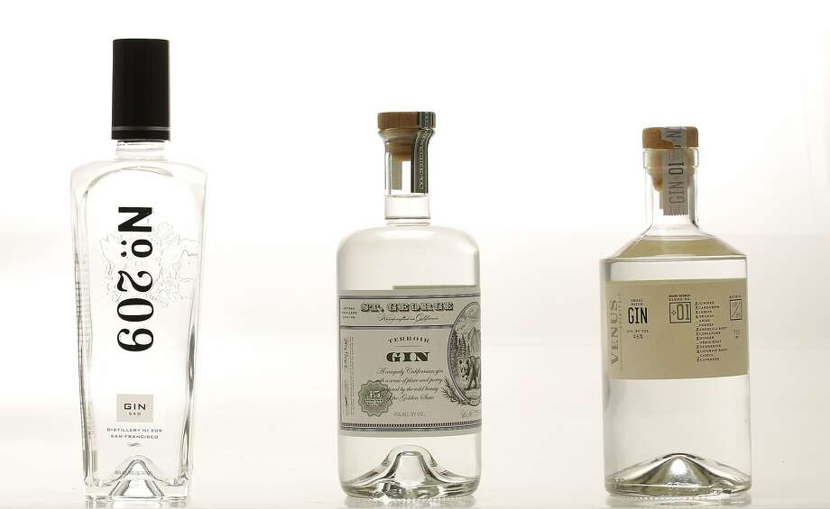 Local gins No. 209 (from left), St. George's Terroir and Venus were tasted by Chronicle staff. Photo: Russell Yip, The Chronicle