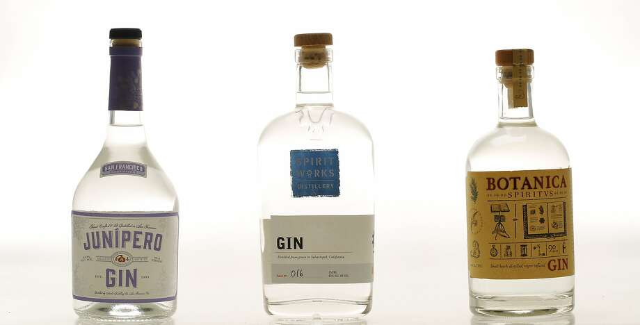 Local gins Junipero (from left), Spirit Works and Botanica were tested by Chronicle staff. Photo: Russell Yip, The Chronicle