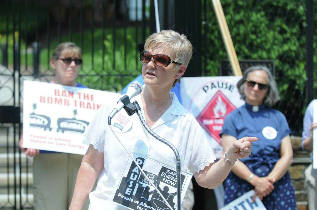 Spokesperson for People of Albany United for Safe Energy, Sandy Steubing, speaks at the rally by PAUSE to commemorate the two year anniversary of the Lac Megantic derailment on Monday, July 6, 2015 outside of the Governor?'s mansion in Albany, N.Y. (Olivia Nadel/ Special to the Times Union)