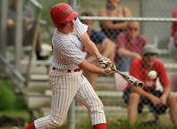 BANC's Will McCormick connects for a single during BANC's Senior Babe Ruth Greenwich playoff championship series game against Redmen at Havemeyer Field in Greenwich, Conn., on Monday, July 6, 2015. BANC beat Redmen, 3-1.