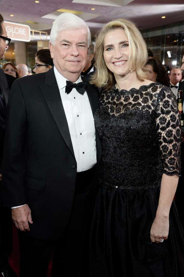 Former U.S. Sen. Chris Dodd and his wife, Jackie, attend the 72nd annual Golden Globe Awards at the Beverly Hilton Hotel on Jan 11 in Beverly Hills, Calif. Photo: Michael Kovac /Getty Images / 2015 Michael Kovac  Michael Kovac/Getty Images for Moet & Chandon