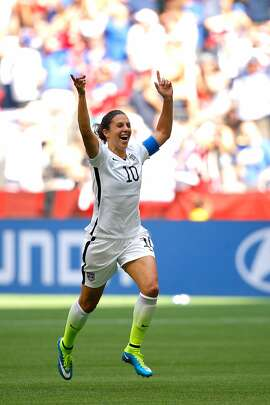 VANCOUVER, BC - JULY 05:  Carli Lloyd #10 of the United States reacts in the first half after scoring a goal against Japan in the FIFA Women's World Cup Canada 2015 Final at BC Place Stadium on July 5, 2015 in Vancouver, Canada.  (Photo by Kevin C. Cox/Getty Images)
