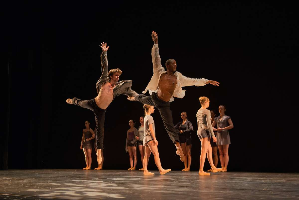 Filename: LINESsummer1.jpg Dancers Brian White and Christopher Wilson (foreground) perform in a work by Carmen Rozestraten at LINES Ballet's Summer Program showcase in 2014 Photo by RAPT Productions