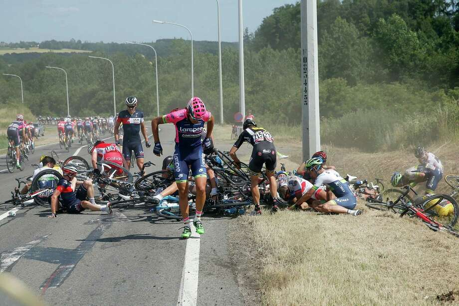 Riders find it difficult to collect themselves after a crash during the third stage of the Tour de France on Monday. Photo: Doug Pensinger, Staff / 2015 Getty Images