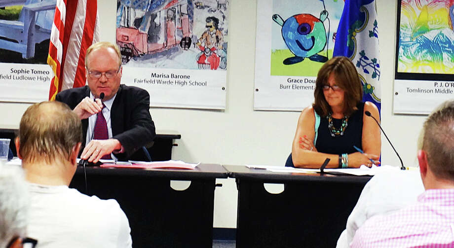 Selectman Kevin Kiley and challenger Laurie McCardle make their respective pitches for the GOP nomination for selectman. The Republican Town Committee will vote July 21 for municipal candidates. Photo: Genevieve Reilly / Fairfield Citizen / Fairfield Citizen