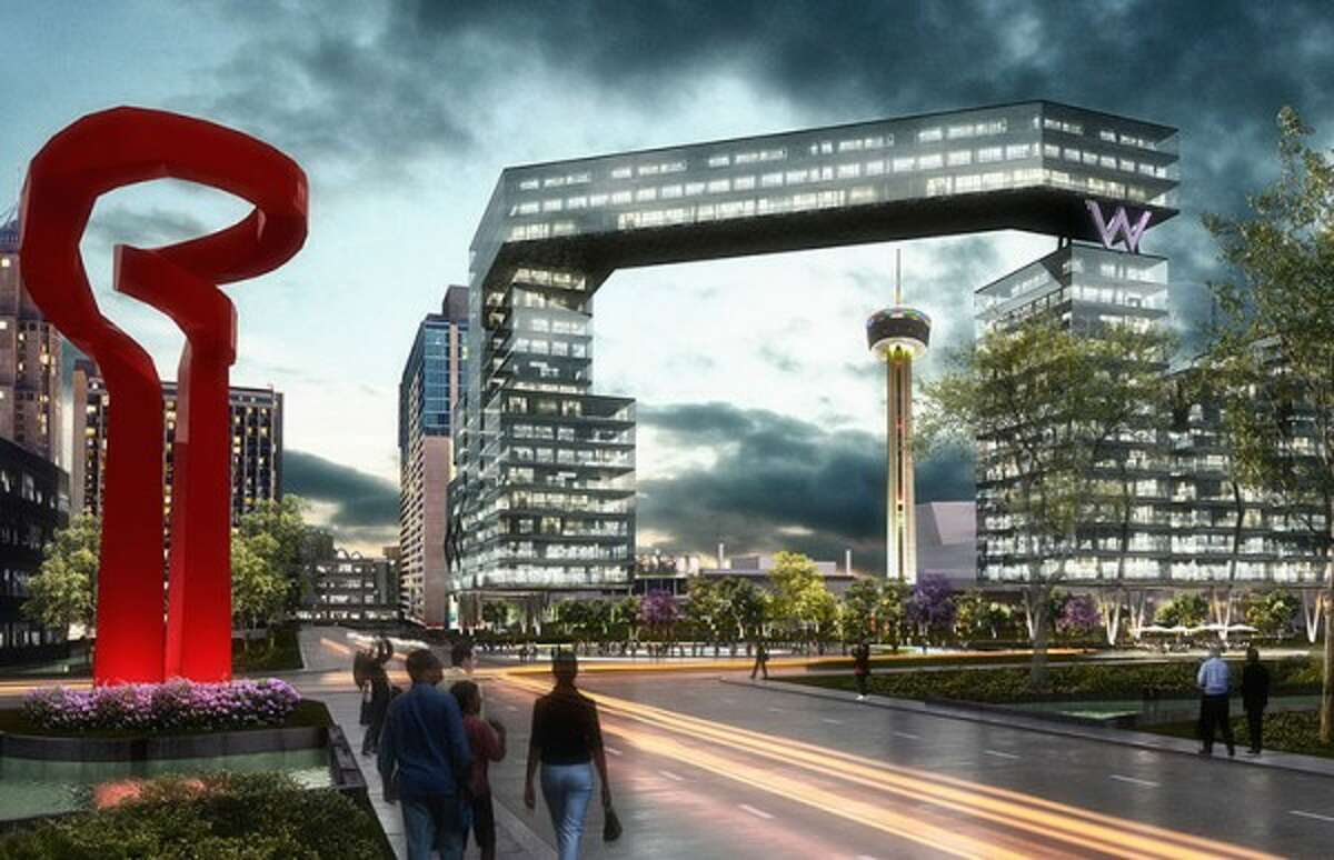 Gomez Vazquez International, a Mexico-based architecture firm with an office in San Antonio, has posted a rendering on its website of a futuristic-looking hotel at the northwest corner of HemisFair Park.
