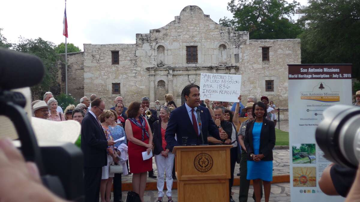 Rep. Will Hurd speaks at the World Heritage celebration at the Alamo on Tuesday, July 7, 2015.