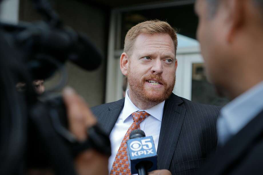 "Curtis Briggs, an attorney representing Raymond ""Shrimp Boy"" Chow, speaks to the media following a hearing on behalf of his client at the Phillip Burton Federal Building and United States Court House on Tuesday, July 7, 2015. Photo: Loren Elliott, The Chronicle"