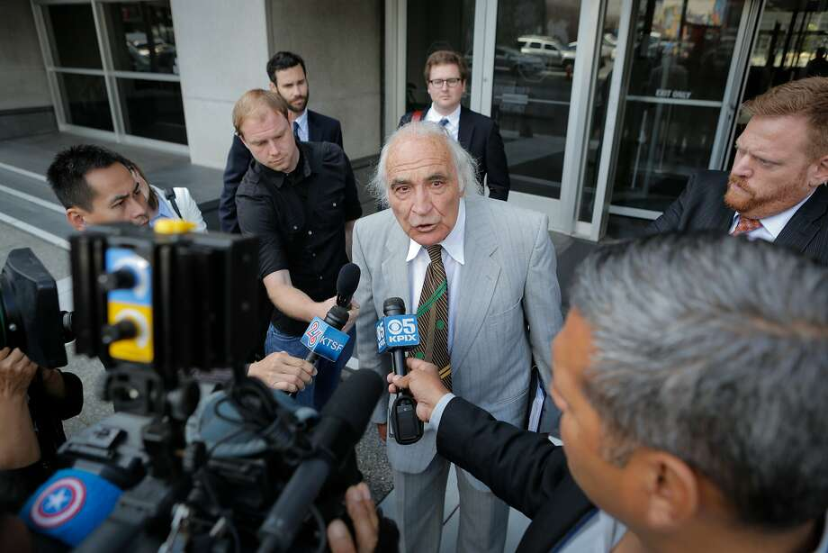 """J. Tony Serra, an attorney representing Raymond """"Shrimp Boy"""" Chow, speaks to the media following a hearing on behalf of his client at the Phillip Burton Federal Building and United States Court House on Tuesday, July 7, 2015. Photo: Loren Elliott, The Chronicle"""