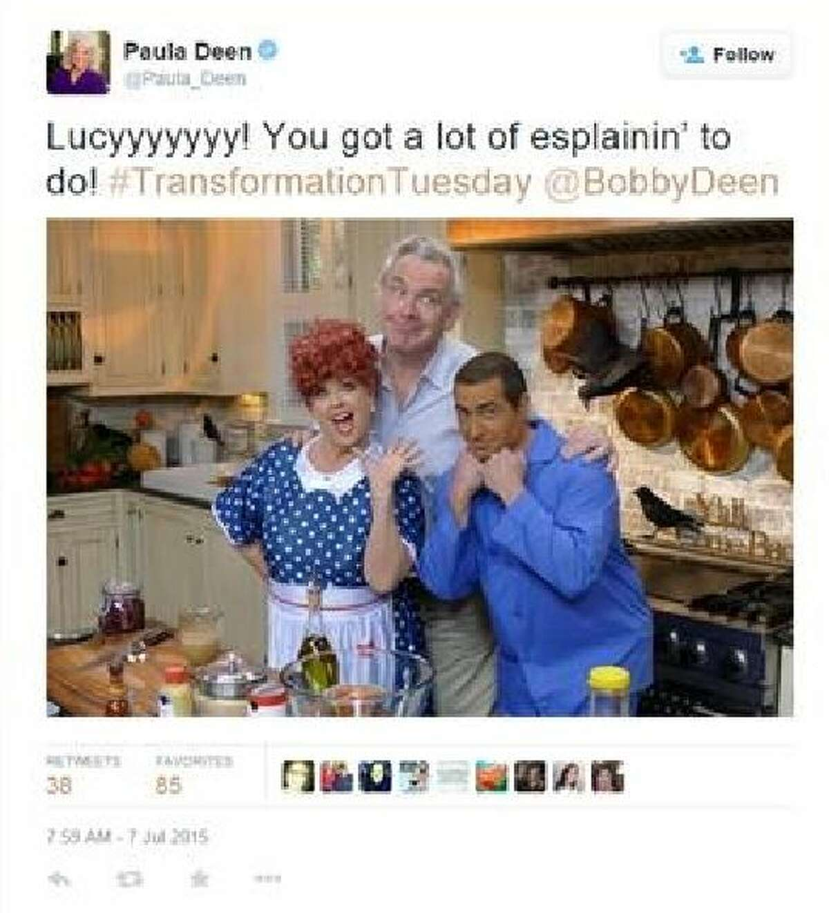 Paula Deen and her son, Bobby, are drawing the ire of Twitter after a photo of her son in brownface.