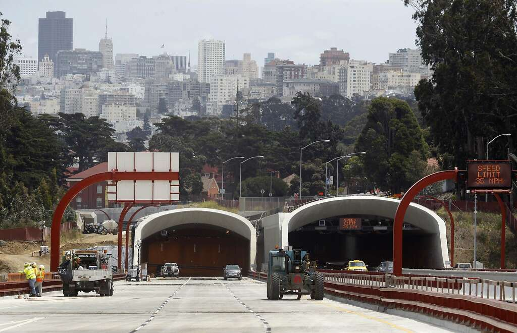 Construction work on the Presidio Parkway project nears completion in San Francisco, Calif. on Tuesday, July 7, 2015. Both directions of Doyle Drive will be closed to traffic beginning Thursday night at 10 p.m. until 5 a.m. Monday to allow work crews to make the final connection of the main access to and from the Golden Gate Bridge through the Presidio. Photo: Paul Chinn, The Chronicle
