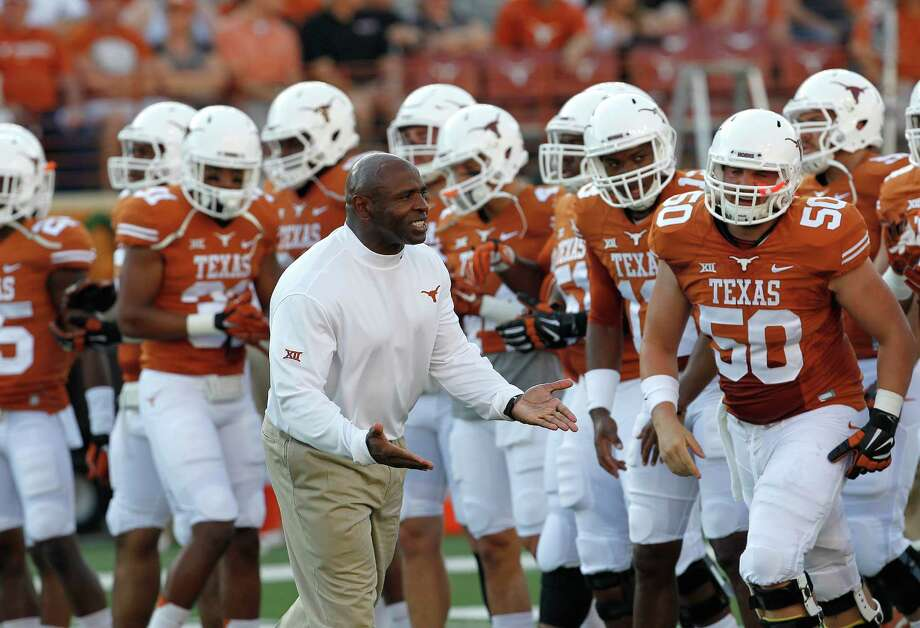 AUSTIN, TX - SEPTEMBER 6: Head coach Charlie Strong of the Texas Longhorns encourages his team in warmups before playing the BYU Cougars on September 6, 2014 at Darrell K Royal-Texas Memorial Stadium in Austin, Texas. (Photo by Chris Covatta/Getty Images) Photo: Chris Covatta, Stringer / 2014 Getty Images