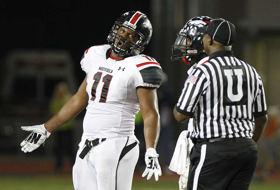 Westfield's Ed Oliver disputes an official's call this past fall. In the spring, Oliver decided to play college football close to home when he committed to the University of Houston. Photo: Diana L. Porter, Freelance / © Diana L. Porter