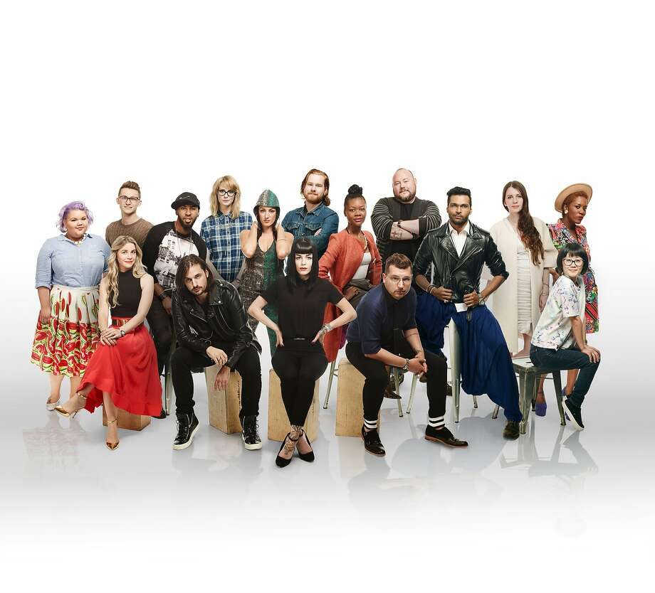 """The cast of season 14 of Lifetime's """"Project Runway"""" premiering August 6 including San Francisco designers Candice Cuoco (third from left, front row) and Jake Wall (fourth from left, front row)."""