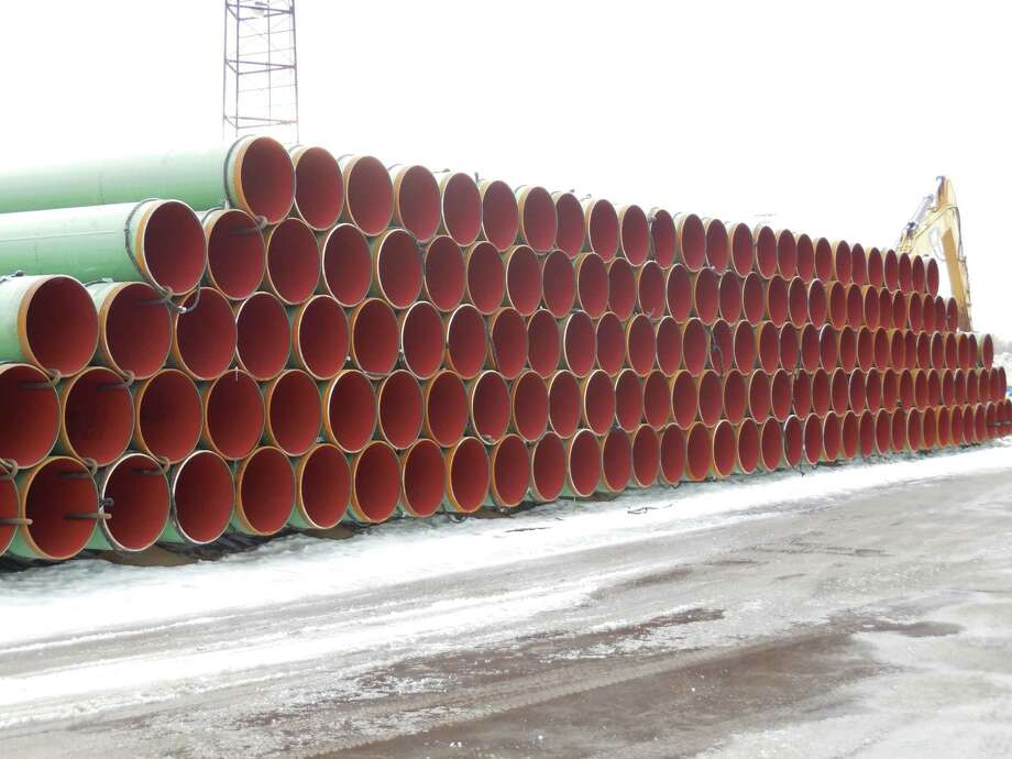 Pipes for the proposed Constitution Pipeline are stacked in Altamont.