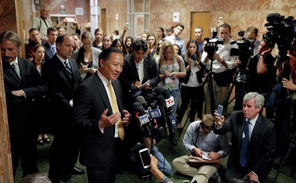 San Francisco PUblic Defender Jeff Adachi speaks to thye media following the arraignment of Juan Francisco Lopez-Sanchez, at the Hall of Justice in San Francisco, Calif. on Tues. July 7, 2015.