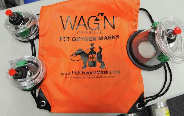 Pet oxygen masks are seen on a table as fire fighters train how to put oxygen masks on dogs and cats at the Shaker Road-Loudonville Fire Department on Tuesday, July 7, 2015 in Colonie, N.Y.  (Lori Van Buren / Times Union) Photo: Lori Van Buren / 00032529A