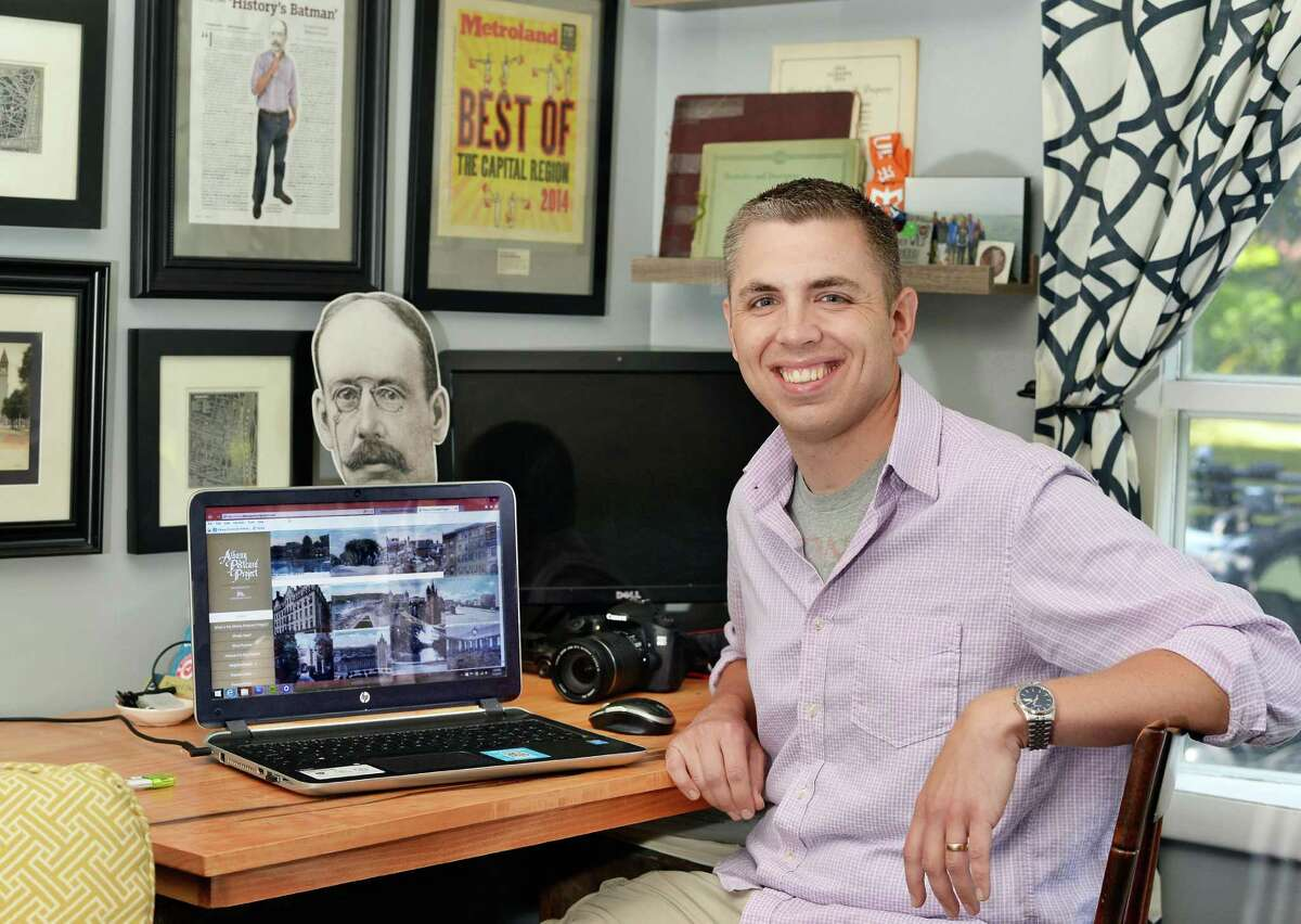 Matt Malette creator of the popular, and previously anonymous, Twitter feed Albany Archives, at his home Friday July 3, 2015 in Colonie,NY. (John Carl D'Annibale / Times Union)