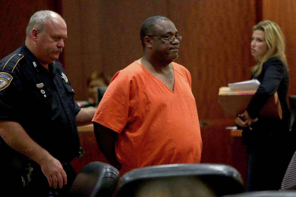 Rodney Jackson, accused of shooting and killing his supervisor after being laid off at a local business, makes a first appearance in the Harris County Criminal courthouse Tuesday in Houston.