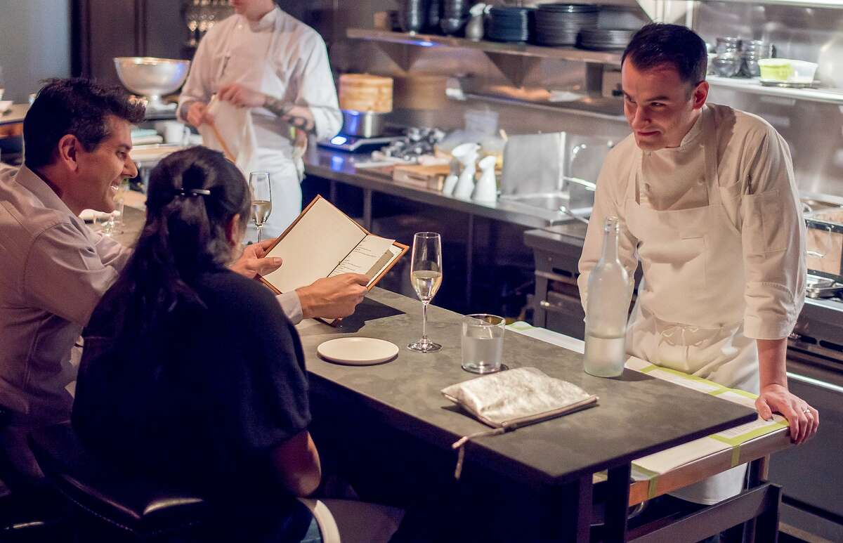 Chef Val M. Cantu talks with diners at Californios in San Francisco in 2015.