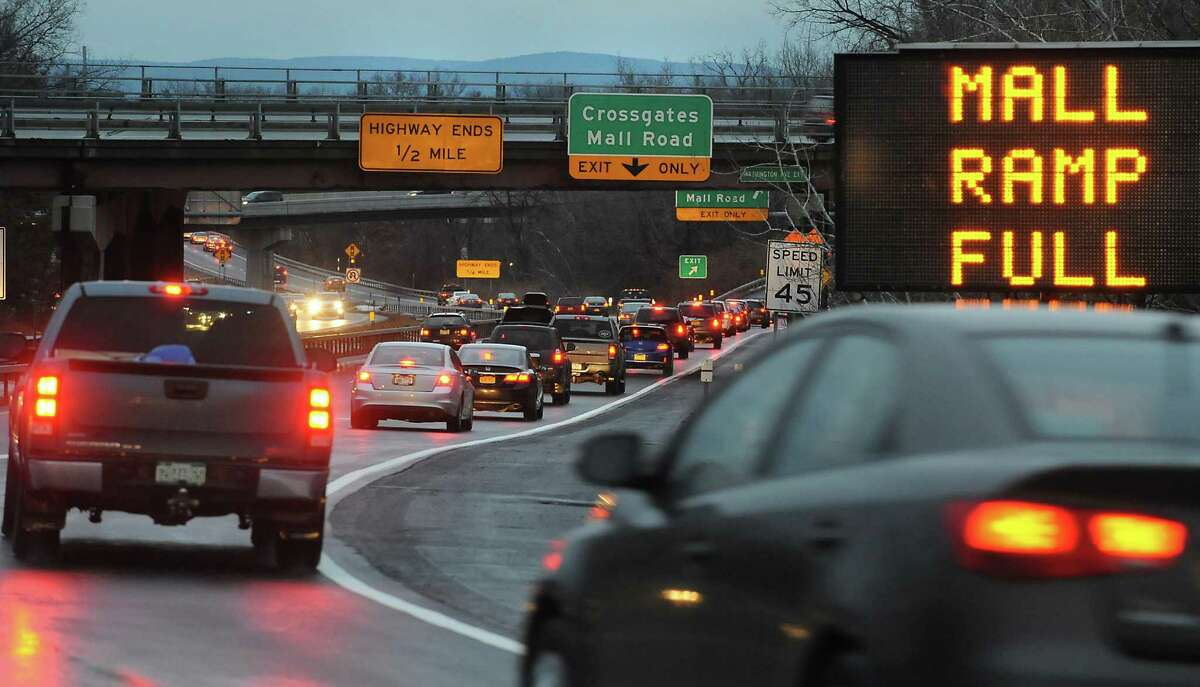 The single lane I-87 exit to Crossgates Mall Road is inadequate and has not been improved in 36 years. (Lori Van Buren / Times Union archive)