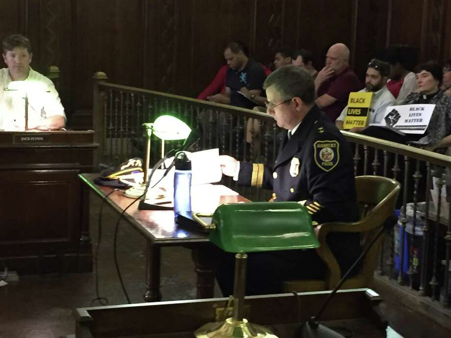 Deputy Police Chief Brendan Cox outlines his vision for the future of the Albany Police Department during the confirmation hearing July 7, 2015 on his nomination as police chief. (Jordan Carleo-Evangelist/Times Union)