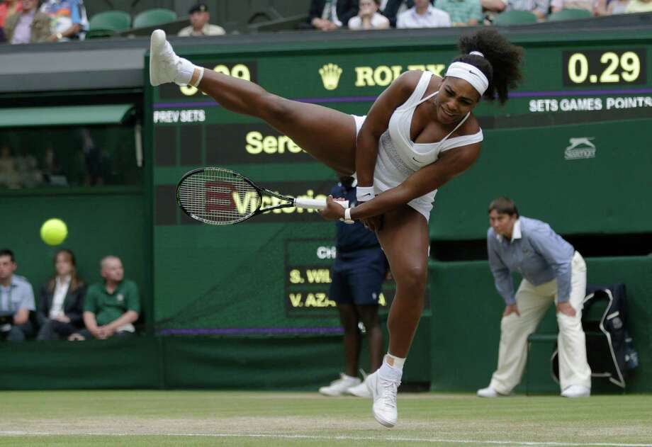 Serena Williams had to rely on all her athletic gifts to pull out a three-set thriller against Victoria Azarenka on Tuesday. Photo: Pavel Golovkin, STF / AP