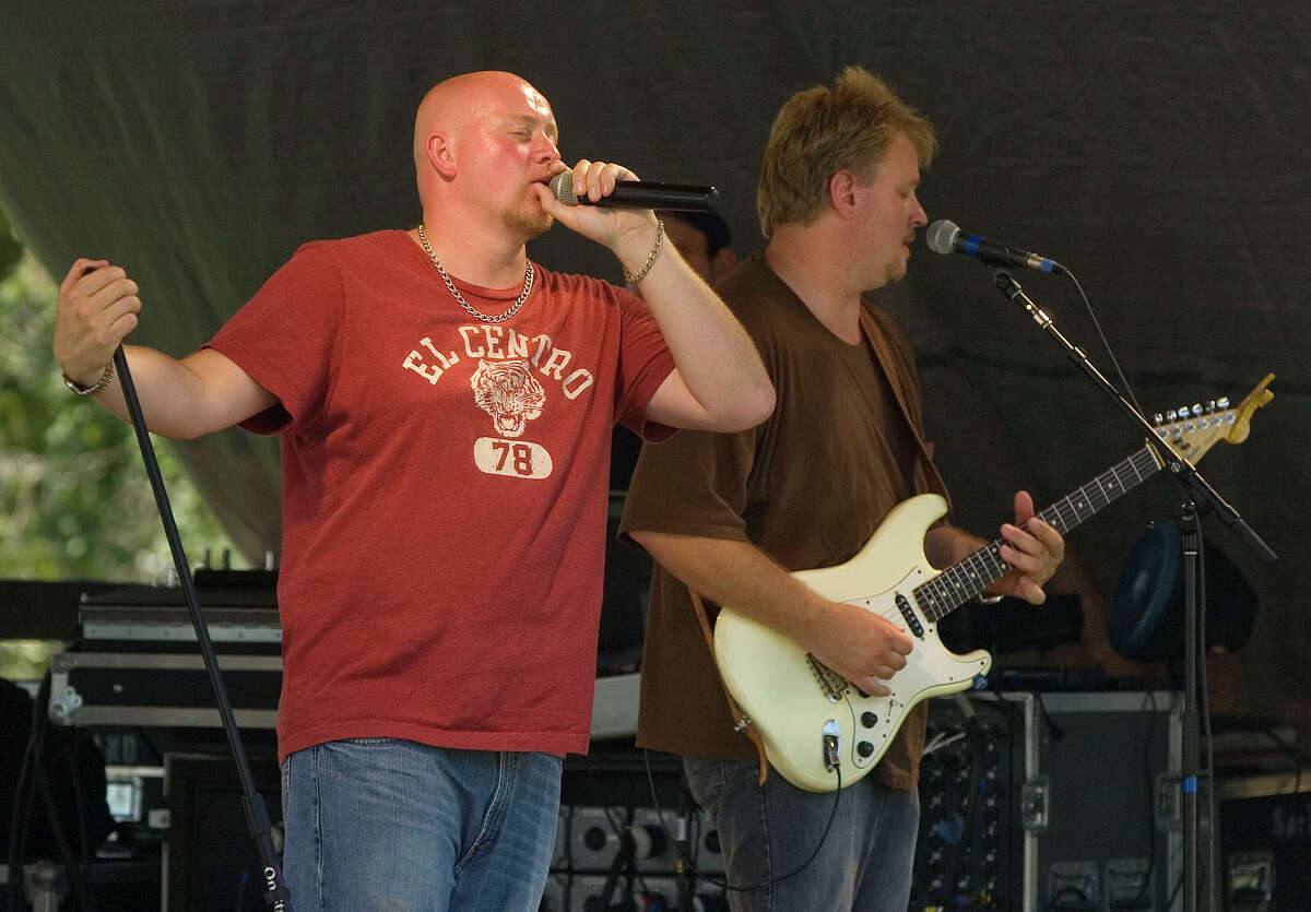 Lead singer for the band Nashville Drive, Justin Chandler is backed up by Greg Herrmann on lead guitar during the 60th Bridgewater Country Fair on Aug. 19, 2011. The band will open the 2015 Bethel Summer Concert Series this Sunday, July 12.