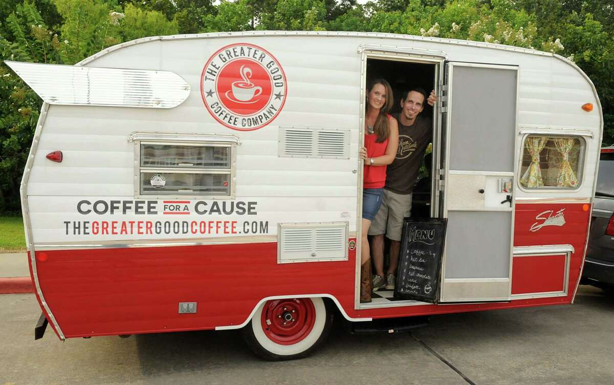 Dea and Ben Scogin, of Spring, with their Coffee for a Cause mobile coffee bar trailer. Photograph by David Hopper.