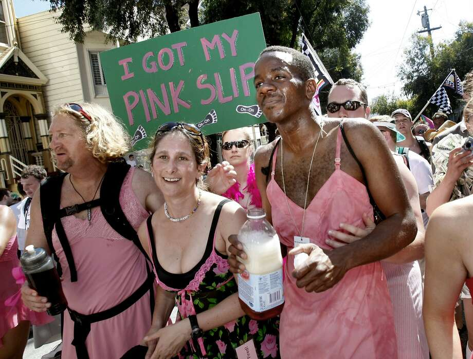 This group clad in pink slips ran the 98th Bay to Breakers in 2009. It was a light- hearted attempt to have fun with a heavy weight problem. Photo: Brant Ward, The Chronicle