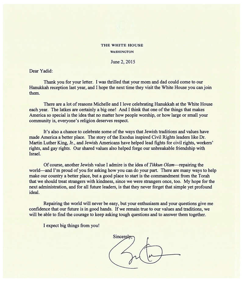 thank you letter gets presidential response