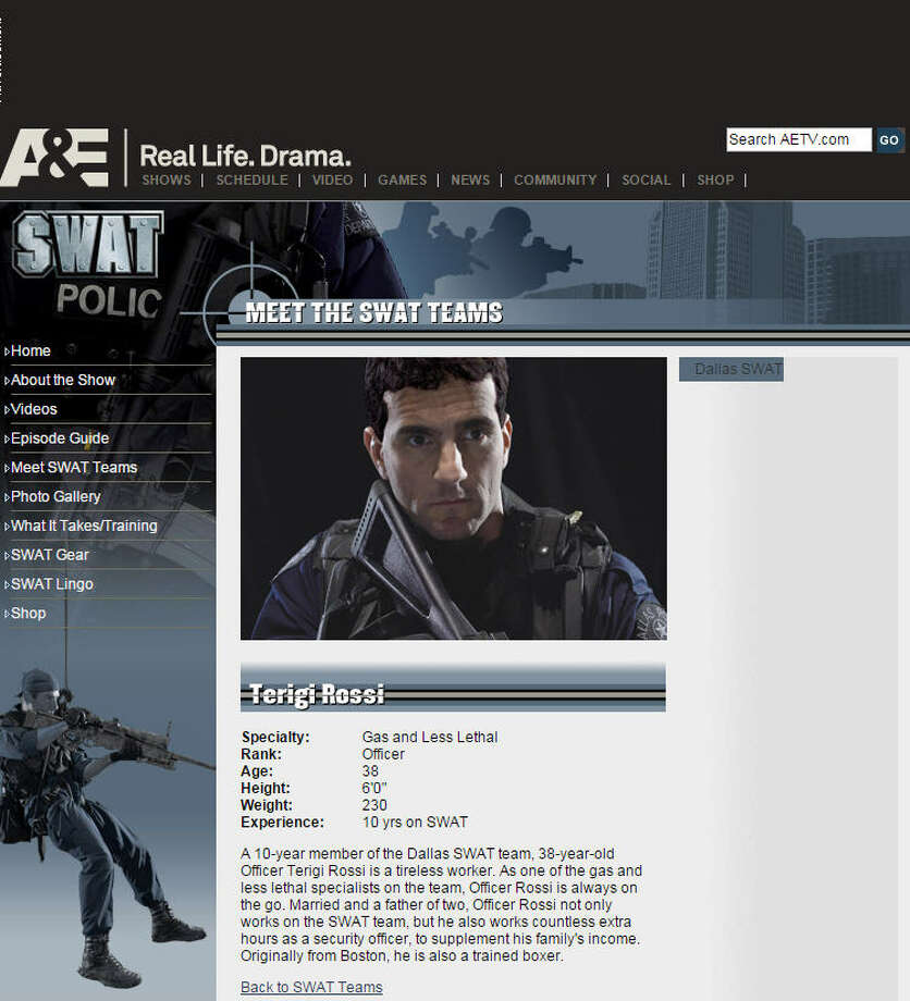 """Terigi Rossi, the officer filmed in the incident, once was seen on an A&E reality show called """"Dallas SWAT."""" Photo: Website Screenshot"""