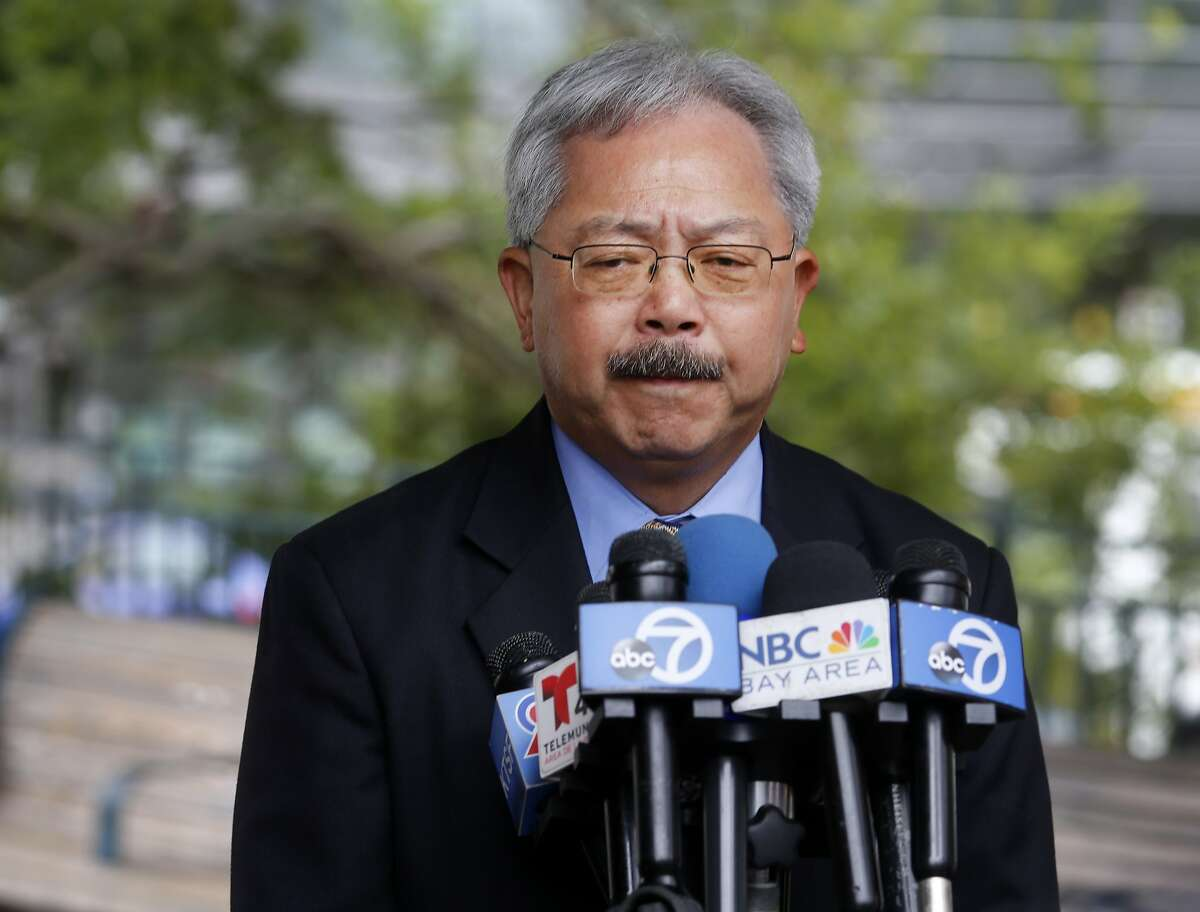 Mayor Lee gave a statement about his efforts to avoid another incident like the one that killed Katheryn Steinle at a press conference at Portsmouth Square Wednesday July 8, 2015. San Francisco Mayor Ed Lee spoke about the sanctuary program which allowed Juan Francisco Lopez-Sanchez to be free on the streets where he allegedly killed Katheryn Steinle recently.