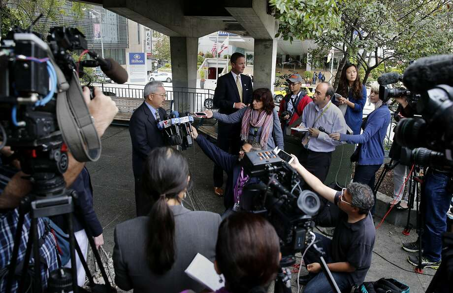 Mayor Ed Lee was surrounded by the local press as he talked about the pier killing Wednesday July 8, 2015 at Portsmouth Square. San Francisco Mayor Ed Lee spoke about the sanctuary program which allowed Juan Francisco Lopez-Sanchez to be free on the streets where he allegedly killed Katheryn Steinle recently. Photo: Brant Ward, The Chronicle