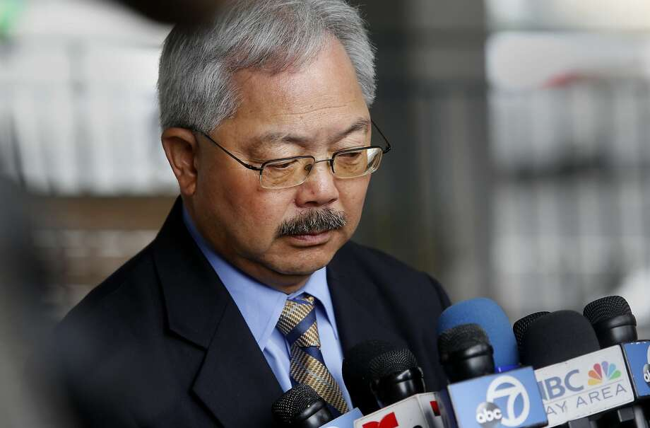 Mayor Ed Lee listened to a reporters question about the sanctuary program which he approved at a press conference Wednesday July 8, 2015. San Francisco Mayor Ed Lee spoke about the sanctuary program which allowed Juan Francisco Lopez-Sanchez to be free on the streets where he allegedly killed Katheryn Steinle recently. Photo: Brant Ward, The Chronicle