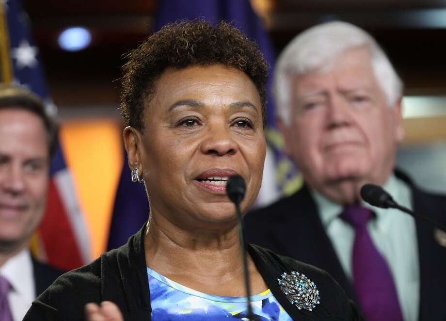 Rep. Barbara Lee, D-Calif., accompanied by fellow House Democrats, gestures during a news conference on Capitol Hill in Washington, Tuesday, June 16, 2016, to discuss opposition to the President Barack Obama's trade deal.  Despite Obama's direct appeal, House Democrats voted overwhelmingly on Friday to reject a jobs retraining program because it was legislatively linked to fast track, which they want to kill. Both parties were asking Tuesday whether they could persuade enough colleagues to switch their votes and reverse Friday's outcome, but few were optimistic.  (AP Photo/Lauren Victoria Burke) Photo: Lauren Victoria Burke, Associated Press