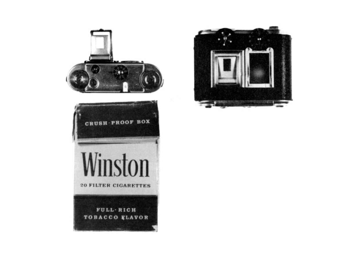 CIA 35mm Tessina Camera in Cigarette Pack Concealment: This half-frame subminiature camera was concealed inside a pack of cigarettes and could be activated externally to take photographs through small perforations in the side of the package.