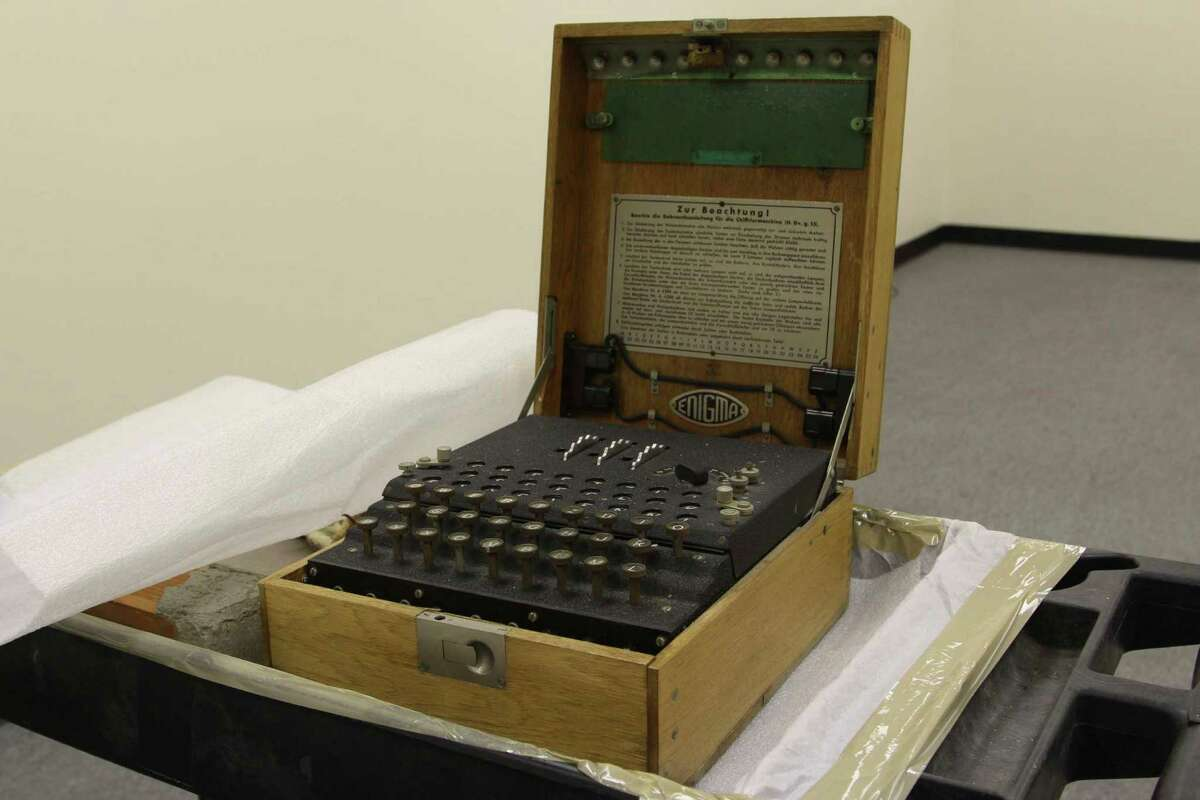 The Enigma machine: One of the methods of sending and decoding secret messages by the German military in World War II. The cipher was broken by the Allied forces and was featured in the Oscar-winning film,