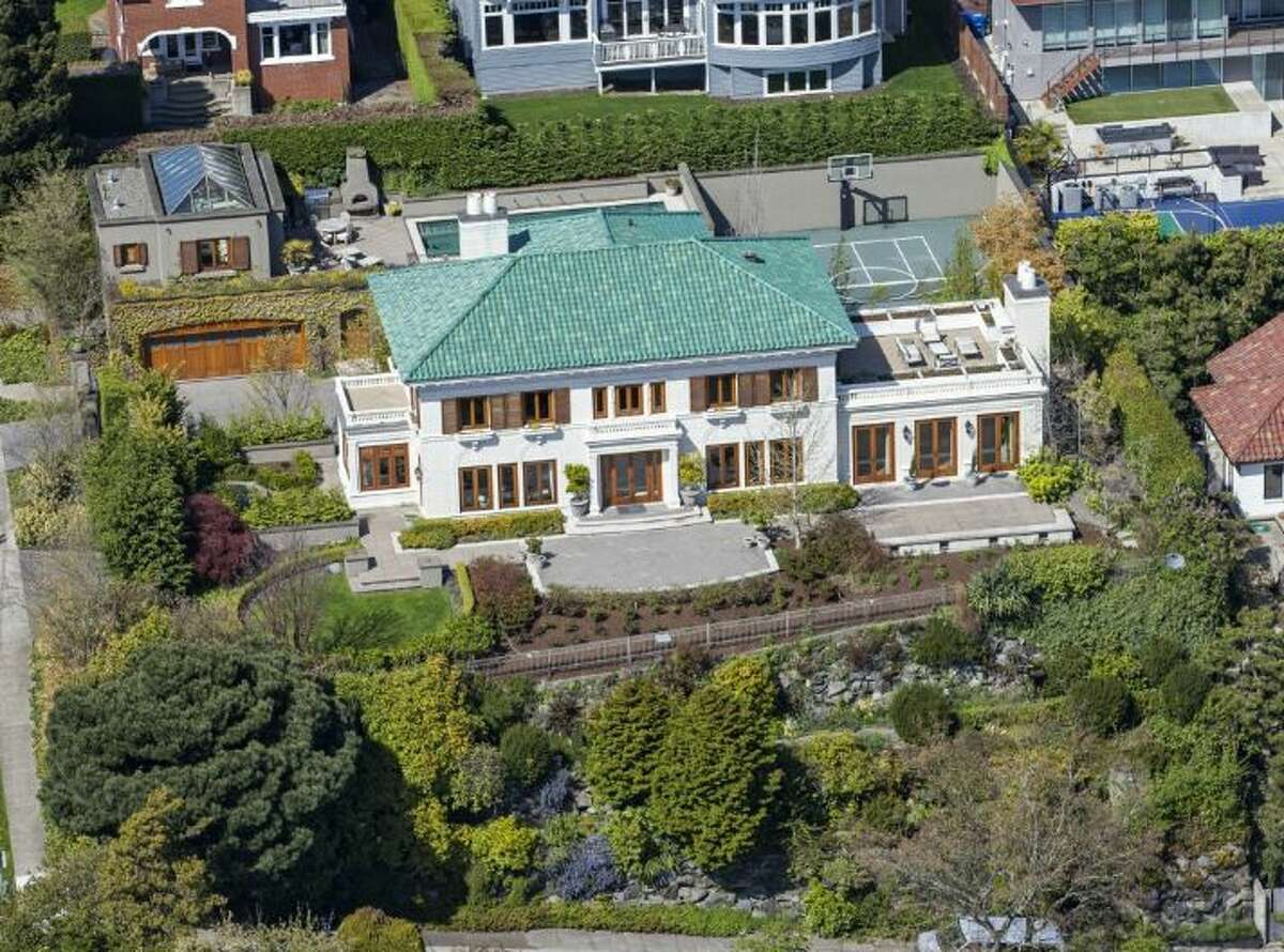 An aerial view of the Queen Anne home.