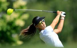 HARRISON, NY - JUNE 10:  Michelle Wie of the USA in action during her practice round as a preview for the 2015 KPMG Women's PGA Championship on the West Course at Westchester Country Club on June 10, 2015 in Harrison, New York.  (Photo by David Cannon/Getty Images) *** BESTPIX ***