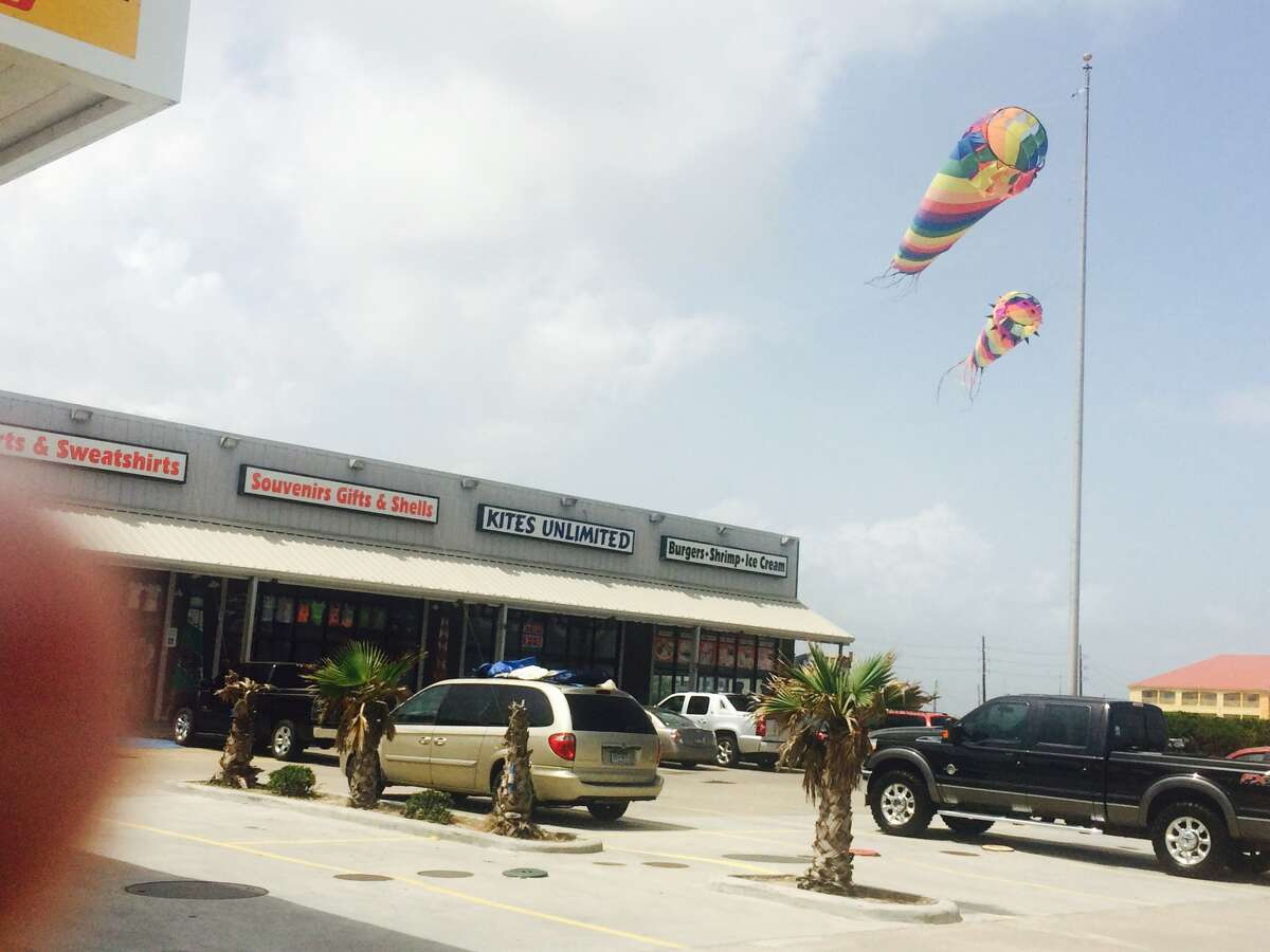 A Galveston kite store on July 8, 2015 was defying a city demand that it stop flying kites outside of the business. The store has been a fixture in the resort city for 30 years.