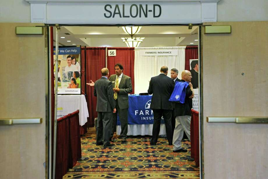 The Times Union job fair draws a crowd at the Albany Marriott Hotel on Wednesday, July 8, 2015 in Colonie, N.Y.  (Lori Van Buren / Times Union) Photo: Lori Van Buren / 00032511A