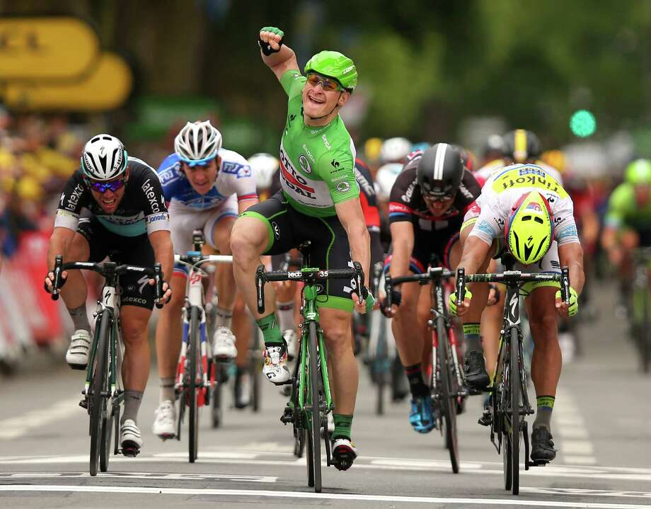 AMIENS, FRANCE - JULY 08:  Andre Greipel of Germany and Lotto-Soudal celebrates his victory during stage five of the 2015 Tour de France, a 189.5km stage between Arras and Amiens on July 8, 2015 in Amiens, France.  (Photo by Bryn Lennon/Getty Images) ORG XMIT: 560071863 Photo: Bryn Lennon / 2015 Getty Images