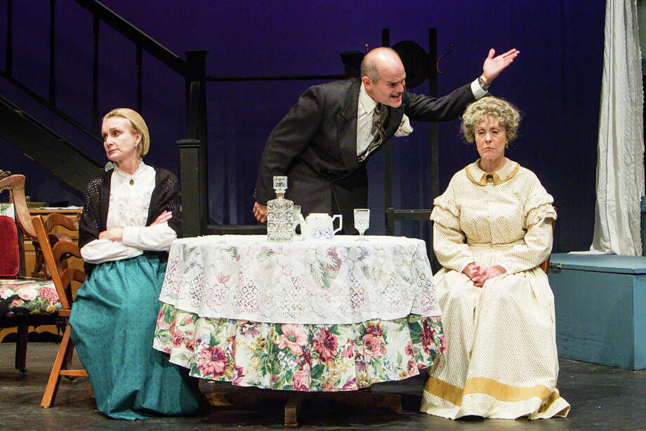"Cast of ""Arsenic and Old Lace"" at the Sherman Playhouse includes Katherine Almquist, of Kent, left, as Aunt Martha; Steve Manzino, of Holmes, N.Y., as Mortimer Brewster; and Patricia Michael, of Dover Plains, N.Y., as Aunt Abby. Photo: Josh Siegel /Contributed Photo / The News-Times Contributed"